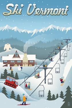 Vermont - Retro Ski Resort by Lantern Press