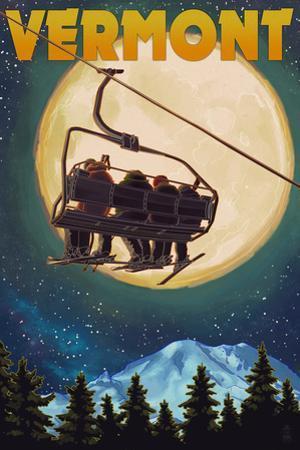 Vermont - Ski Lift and Full Moon by Lantern Press