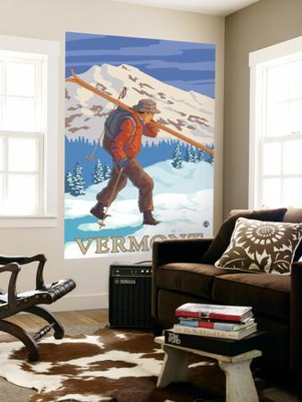 Vermont - Skier Carrying Skis by Lantern Press