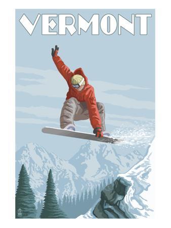 Vermont - Snowboarder Jumping by Lantern Press
