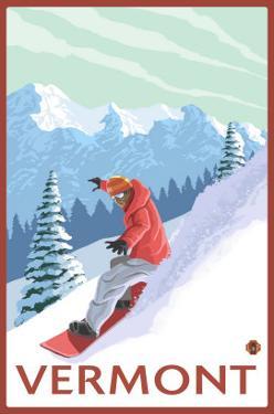 Vermont - Snowboarder Scene by Lantern Press