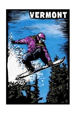 Vermont - Snowboarder - Scratchboard by Lantern Press