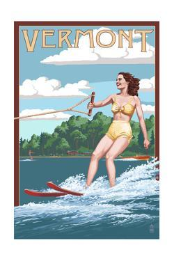 Vermont - Water Skier and Lake by Lantern Press