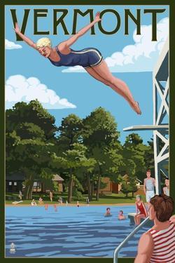 Vermont - Woman Diving and Lake by Lantern Press