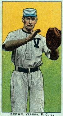 Vernon, CA, Vernon Pacific Coast League, Brown, Baseball Card by Lantern Press