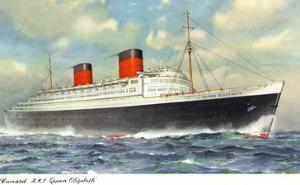 View of Cunard Ocean Liner Queen Elizabeth by Lantern Press