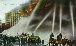 View of Firefighters Spraying an Enormous Blaze by Lantern Press