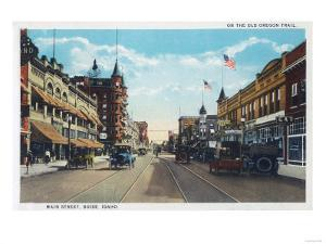 View of Main Street with Model-T Ford Cars - Boise, ID by Lantern Press