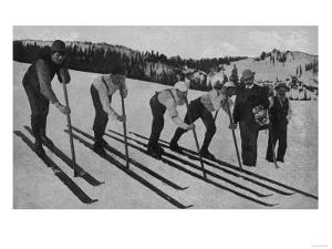 View of Skiers Posed and Ready for a Race - La Porte, CA by Lantern Press