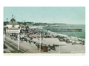 View of the Casino, Beach, and Pier - Santa Cruz, CA by Lantern Press