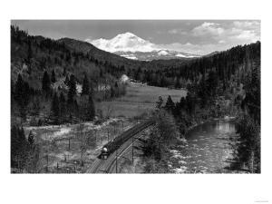 View of the Mountain, Valley, and Train - Mt. Shasta, CA by Lantern Press