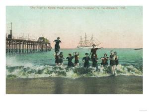 View of the Surf, Balboa in the Distance - Santa Cruz, CA by Lantern Press