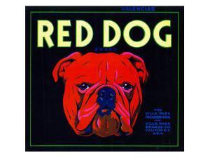 Villa Park, California, Red Dog Brand Citrus Label by Lantern Press