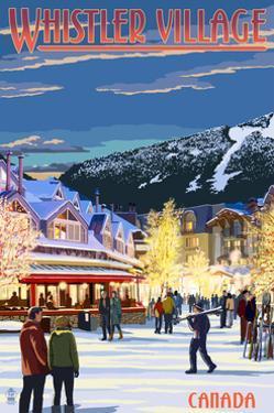 Village Scene - Whistler, Canada by Lantern Press