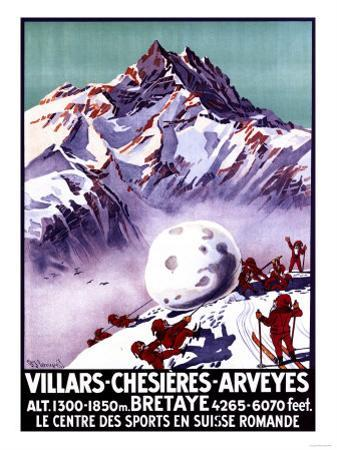 Villars, Switzerland - Naughty Gnomes Making Giant Snowball Poster by Lantern Press