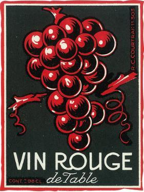 Vin Rouge De Table Wine Label - Europe by Lantern Press