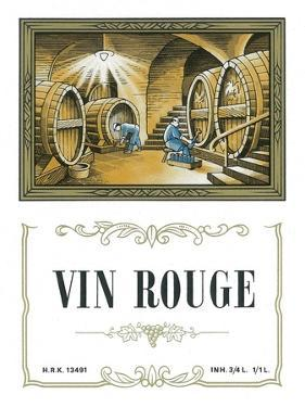 Vin Rouge Wine Label - Europe by Lantern Press
