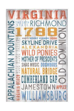 Virginia - Barnwood Typography by Lantern Press