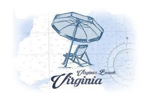 Virginia Beach, Virginia - Beach Chair and Umbrella - Blue - Coastal Icon by Lantern Press