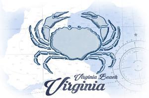 Virginia Beach, Virginia - Crab - Blue - Coastal Icon by Lantern Press