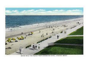 Virginia Beach, Virginia, Edgewater Hotel View of the Boardwalk and Beach Front by Lantern Press