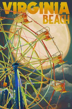 Virginia Beach, Virginia - Ferris Wheen and Full Moon by Lantern Press