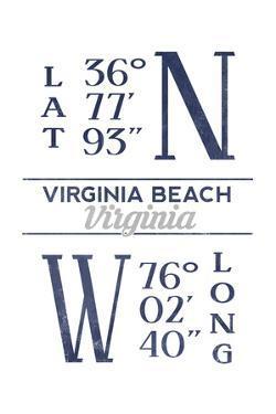 Virginia Beach, Virginia - Latitude and Longitude (Blue) by Lantern Press