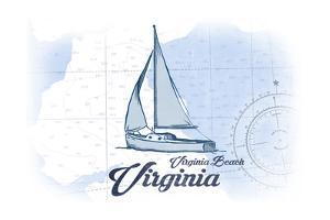 Virginia Beach, Virginia - Sailboat - Blue - Coastal Icon by Lantern Press