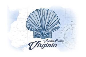 Virginia Beach, Virginia - Scallop Shell - Blue - Coastal Icon by Lantern Press