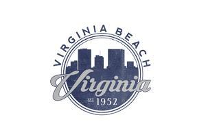 Virginia Beach, Virginia - Skyline Seal (Blue) by Lantern Press