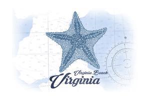 Virginia Beach, Virginia - Starfish - Blue - Coastal Icon by Lantern Press