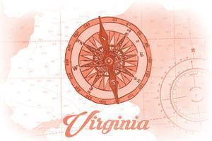 Virginia - Compass - Coral - Coastal Icon by Lantern Press