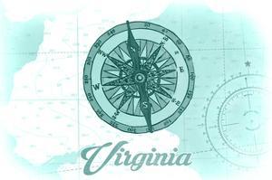 Virginia - Compass - Teal - Coastal Icon by Lantern Press