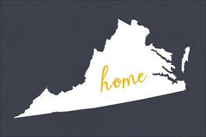 Virginia - Home State - White on Gray by Lantern Press