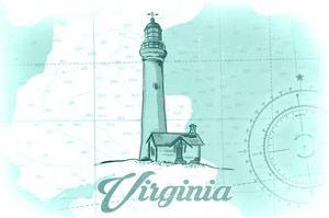 Virginia - Lighthouse - Teal - Coastal Icon by Lantern Press