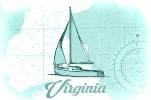 Virginia - Sailboat - Teal - Coastal Icon by Lantern Press
