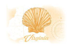 Virginia - Scallop Shell - Yellow - Coastal Icon by Lantern Press