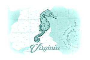 Virginia - Seahorse - Teal - Coastal Icon by Lantern Press