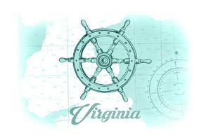 Virginia - Ship Wheel - Teal - Coastal Icon by Lantern Press
