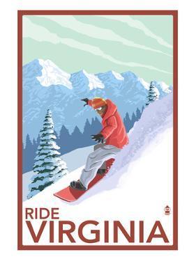 Virginia - Snowboarder Scene by Lantern Press