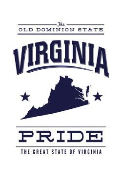 Virginia State Pride - Blue on White by Lantern Press