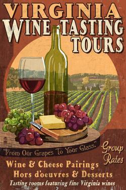 Virginia - Wine Vintage Sign by Lantern Press