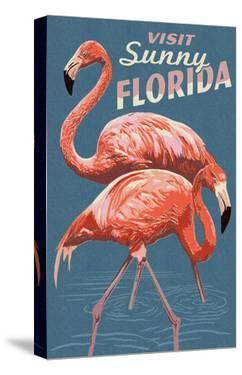Visit Sunny Florida - Flamingo by Lantern Press