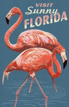 Visit Sunny Florida - Flamingo by Lantern Press