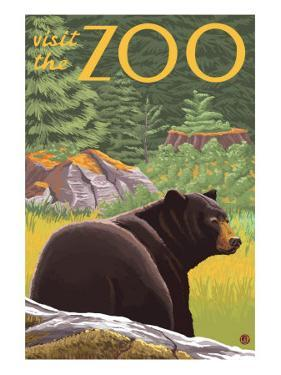Visit the Zoo, Bear in the Forest by Lantern Press