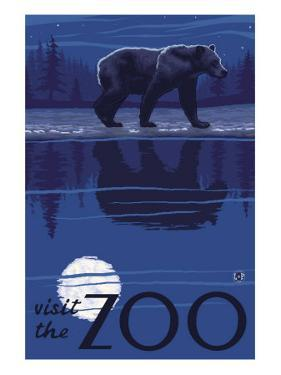 Visit the Zoo, Bear in the Moonlight by Lantern Press