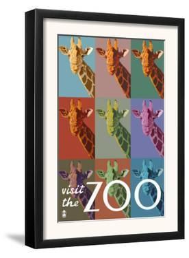 Visit the Zoo, Giraffe as Pop Art by Lantern Press