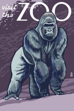 Visit the Zoo, Gorilla Scene by Lantern Press