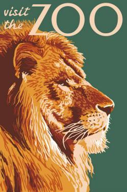 Visit the Zoo, Lion Up Close by Lantern Press
