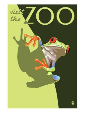 Visit the Zoo, Tree Frog Scene by Lantern Press